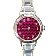 Woven2 Black Marble & Pink Leather Round Italian Charm Watch by trendistuff