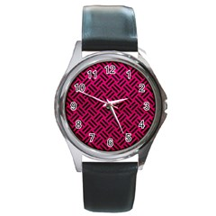 Woven2 Black Marble & Pink Leather Round Metal Watch by trendistuff