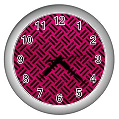 Woven2 Black Marble & Pink Leather Wall Clocks (silver)  by trendistuff