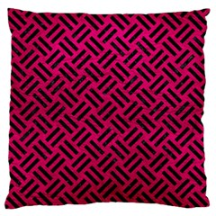 Woven2 Black Marble & Pink Leather Large Flano Cushion Case (two Sides) by trendistuff