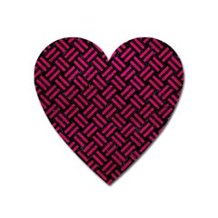 Woven2 Black Marble & Pink Leather (r) Heart Magnet by trendistuff