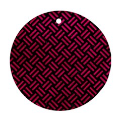Woven2 Black Marble & Pink Leather (r) Round Ornament (two Sides) by trendistuff