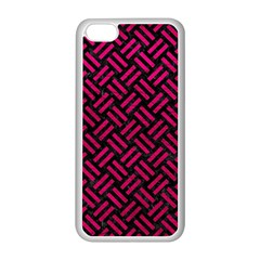 Woven2 Black Marble & Pink Leather (r) Apple Iphone 5c Seamless Case (white)