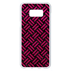 Woven2 Black Marble & Pink Leather (r) Samsung Galaxy S8 Plus White Seamless Case by trendistuff