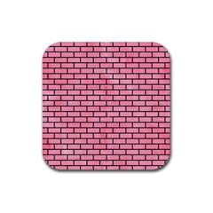 Brick1 Black Marble & Pink Watercolor Rubber Square Coaster (4 Pack)  by trendistuff