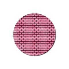 Brick1 Black Marble & Pink Watercolor Rubber Round Coaster (4 Pack)  by trendistuff