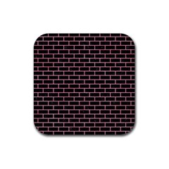 Brick1 Black Marble & Pink Watercolor (r) Rubber Square Coaster (4 Pack)  by trendistuff