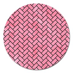 Brick2 Black Marble & Pink Watercolor Magnet 5  (round)