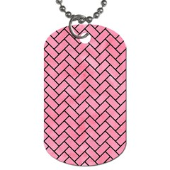 Brick2 Black Marble & Pink Watercolor Dog Tag (one Side) by trendistuff