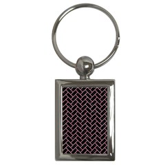 Brick2 Black Marble & Pink Watercolor (r) Key Chains (rectangle)  by trendistuff