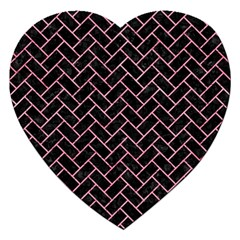 Brick2 Black Marble & Pink Watercolor (r) Jigsaw Puzzle (heart) by trendistuff