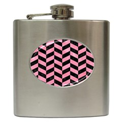 Chevron1 Black Marble & Pink Watercolor Hip Flask (6 Oz) by trendistuff
