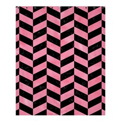 Chevron1 Black Marble & Pink Watercolor Shower Curtain 60  X 72  (medium)  by trendistuff