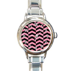 Chevron2 Black Marble & Pink Watercolor Round Italian Charm Watch by trendistuff