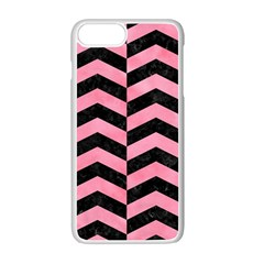 Chevron2 Black Marble & Pink Watercolor Apple Iphone 7 Plus White Seamless Case