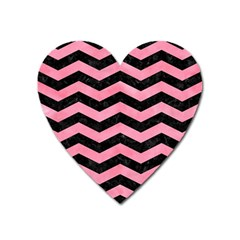 Chevron3 Black Marble & Pink Watercolor Heart Magnet by trendistuff