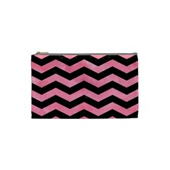 Chevron3 Black Marble & Pink Watercolor Cosmetic Bag (small)  by trendistuff