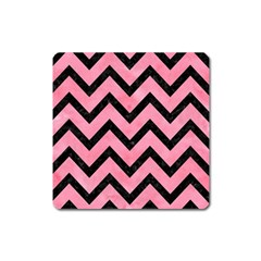 Chevron9 Black Marble & Pink Watercolor Square Magnet by trendistuff