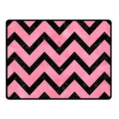 Chevron9 Black Marble & Pink Watercolor Fleece Blanket (small) by trendistuff