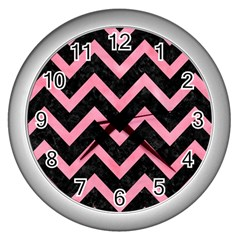 Chevron9 Black Marble & Pink Watercolor (r) Wall Clocks (silver)  by trendistuff