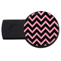 Chevron9 Black Marble & Pink Watercolor (r) Usb Flash Drive Round (2 Gb) by trendistuff
