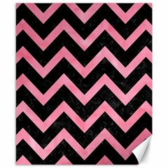 Chevron9 Black Marble & Pink Watercolor (r) Canvas 8  X 10  by trendistuff