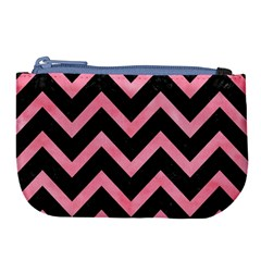 Chevron9 Black Marble & Pink Watercolor (r) Large Coin Purse by trendistuff