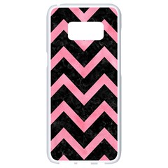 Chevron9 Black Marble & Pink Watercolor (r) Samsung Galaxy S8 White Seamless Case