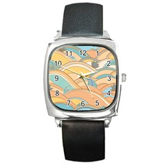 Abstract Nature 5 Square Metal Watch