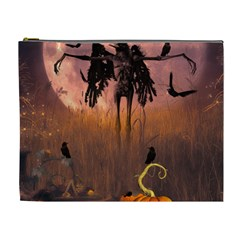 Halloween Design With Scarecrow, Crow And Pumpkin Cosmetic Bag (xl)