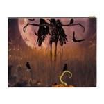 Halloween Design With Scarecrow, Crow And Pumpkin Cosmetic Bag (XL) Back