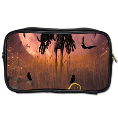 Halloween Design With Scarecrow, Crow And Pumpkin Toiletries Bags 2 Side by FantasyWorld7