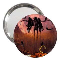 Halloween Design With Scarecrow, Crow And Pumpkin 3  Handbag Mirrors by FantasyWorld7