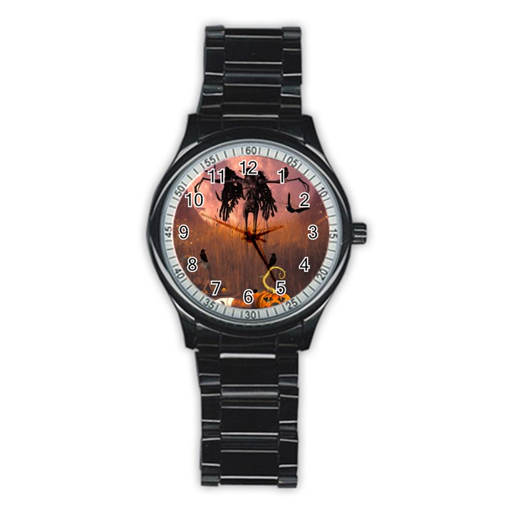 Halloween Design With Scarecrow, Crow And Pumpkin Stainless Steel Round Watch