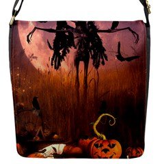 Halloween Design With Scarecrow, Crow And Pumpkin Flap Messenger Bag (s) by FantasyWorld7