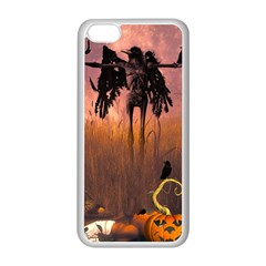 Halloween Design With Scarecrow, Crow And Pumpkin Apple Iphone 5c Seamless Case (white)
