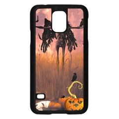 Halloween Design With Scarecrow, Crow And Pumpkin Samsung Galaxy S5 Case (black) by FantasyWorld7