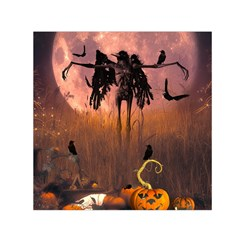 Halloween Design With Scarecrow, Crow And Pumpkin Small Satin Scarf (square) by FantasyWorld7