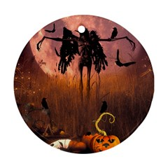 Halloween Design With Scarecrow, Crow And Pumpkin Ornament (round) by FantasyWorld7