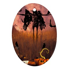 Halloween Design With Scarecrow, Crow And Pumpkin Ornament (oval) by FantasyWorld7
