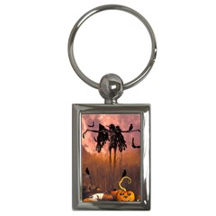 Halloween Design With Scarecrow, Crow And Pumpkin Key Chains (rectangle)  by FantasyWorld7