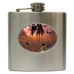 Halloween Design With Scarecrow, Crow And Pumpkin Hip Flask (6 Oz) by FantasyWorld7