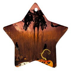 Halloween Design With Scarecrow, Crow And Pumpkin Star Ornament (two Sides) by FantasyWorld7