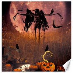 Halloween Design With Scarecrow, Crow And Pumpkin Canvas 20  X 20   by FantasyWorld7
