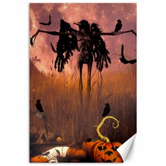 Halloween Design With Scarecrow, Crow And Pumpkin Canvas 24  X 36  by FantasyWorld7