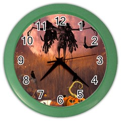 Halloween Design With Scarecrow, Crow And Pumpkin Color Wall Clocks by FantasyWorld7