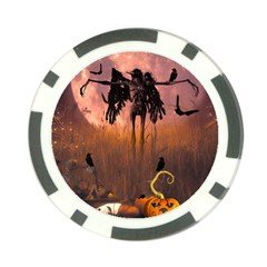 Halloween Design With Scarecrow, Crow And Pumpkin Poker Chip Card Guard by FantasyWorld7
