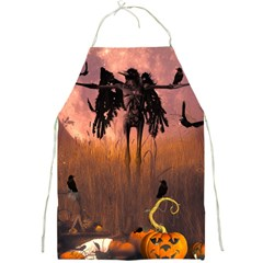 Halloween Design With Scarecrow, Crow And Pumpkin Full Print Aprons by FantasyWorld7