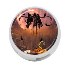 Halloween Design With Scarecrow, Crow And Pumpkin 4 Port Usb Hub (two Sides)  by FantasyWorld7