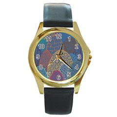 Abstract Nature 13 Round Gold Metal Watch by tarastyle